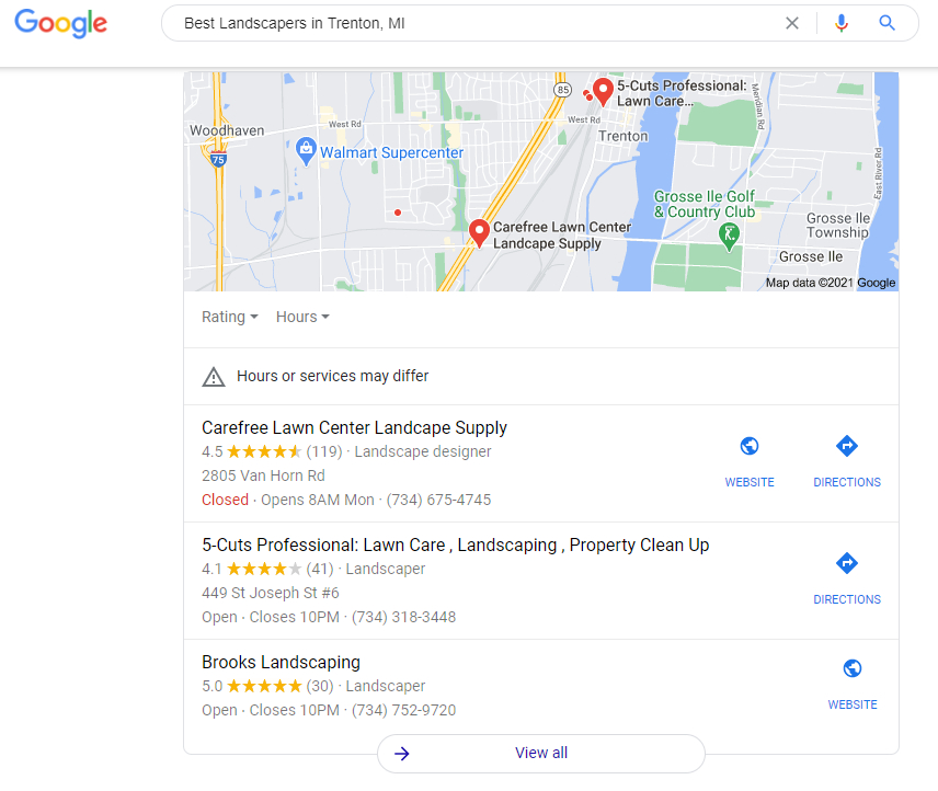 Local SEO Landscaping Search Results Page