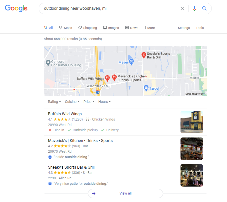 Local SEO Restaurant Search Results Image