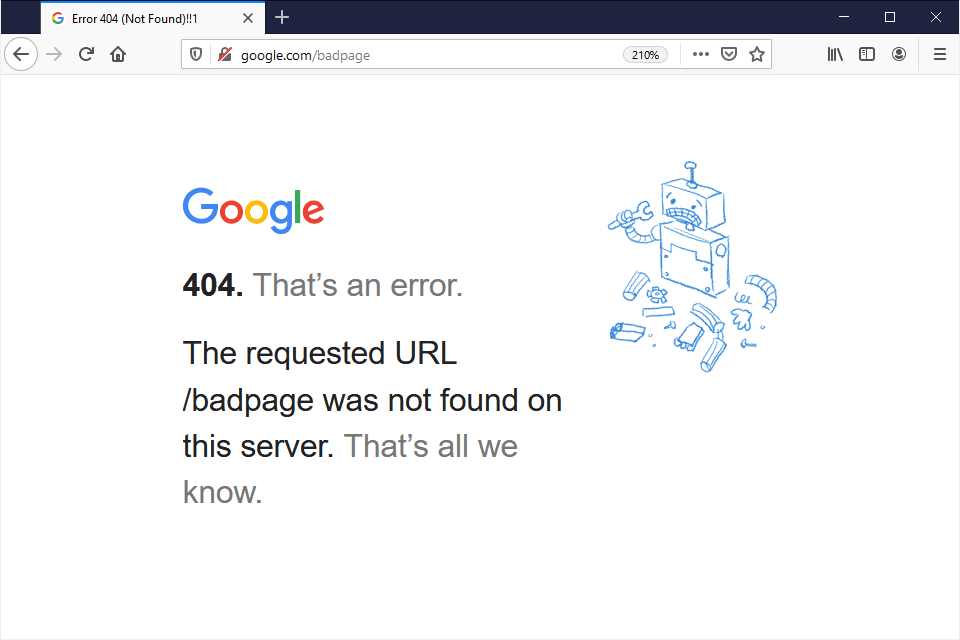 An example of a 404 page