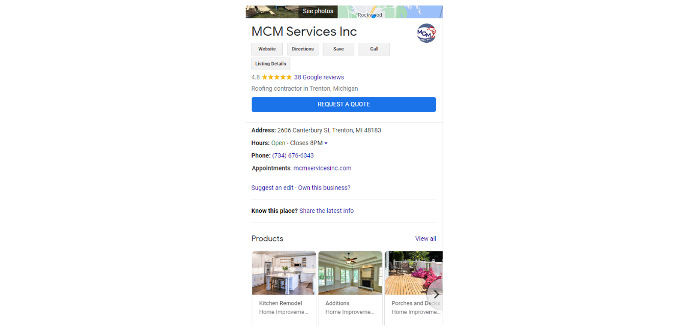 A photo of a google my business listing in a search result