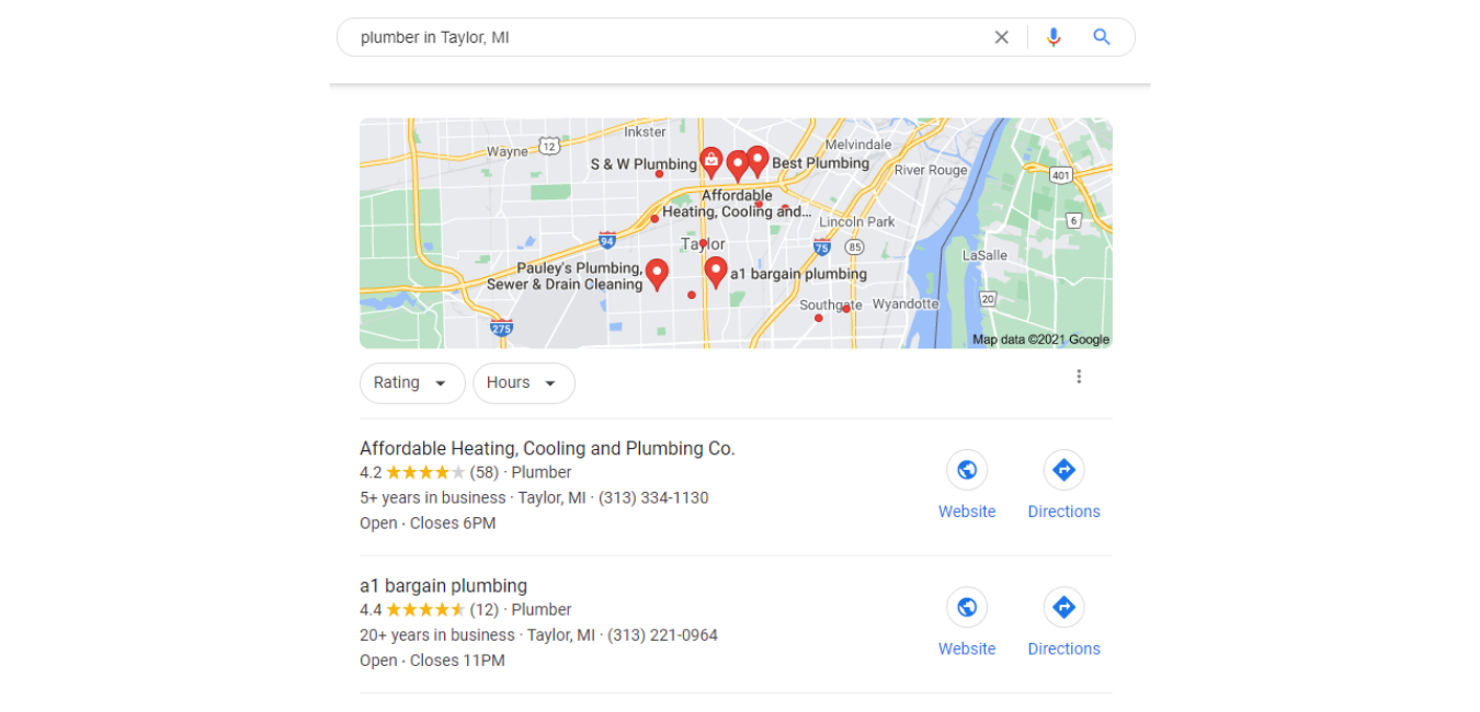 A photo of local search result for a plumber